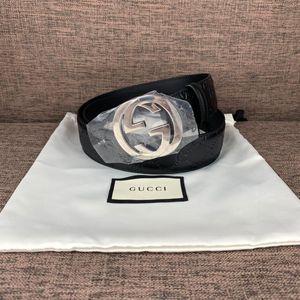 GUCCI 古驰银头双G印花logo经典腰带皮带