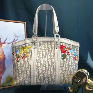 Dior 迪奥DJ12575大号绣花帆布单肩包手提包