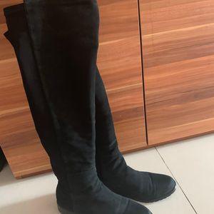 stuart weitzman 斯图尔特·韦茨曼黑色麂皮靴子