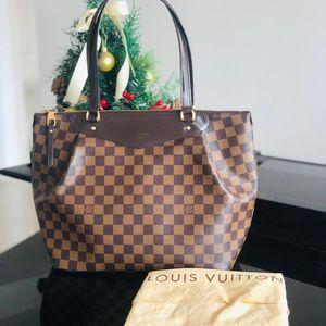 Louis Vuitton 路易·威登中号棕棋盘格单肩包购物袋