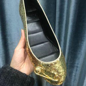 Versace 范思哲金色别针亮片平底鞋