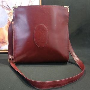 Cartier 卡地亚DJ12603猪肝红全皮四方单肩包
