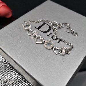 Dior 迪奥银色满钻桃心字母Logo手链