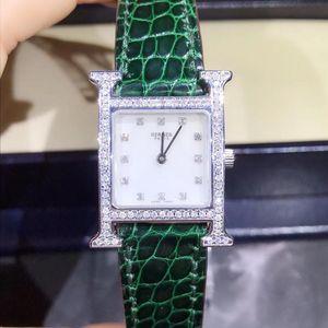 Hermès 爱马仕H型后镶钻石石英女表