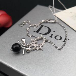 Dior 迪奥银色满钻大Logo黑珍珠手链
