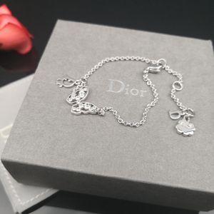 Dior 迪奥银色满钻蝴蝶Logo手链
