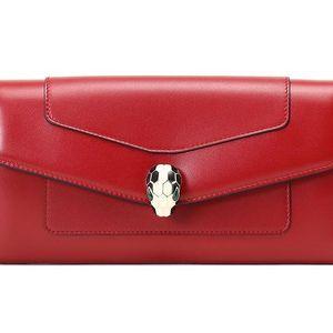 BVLGARI 宝格丽深红色皮质蛇头装饰长款按扣钱包
