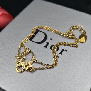 Dior 迪奥金色满钻双链大Logo手链