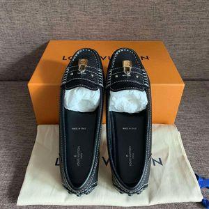 Louis Vuitton 路易·威登黑色机车锁头豆豆鞋