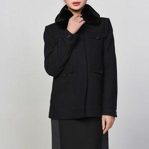阿玛尼(Armani Jeans)女士羊毛混纺外套大衣