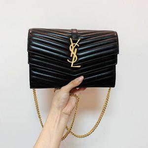 Yves Saint Laurent 伊夫·圣罗兰信封包woc黑色全皮双翻盖信封包
