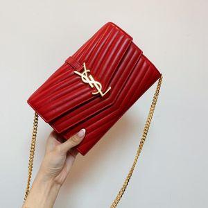 Yves Saint Laurent 伊夫·圣罗兰信封woc红色全皮双翻盖单肩包