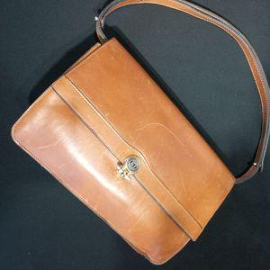 Dior 迪奥DJ12598驼色小牛皮金扣信封包单肩包
