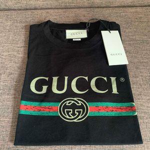 GUCCI 古驰经典刺绣款黑色T恤