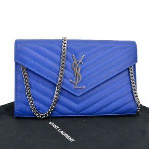 Yves Saint Laurent 伊夫·圣罗兰宝蓝色银扣鱼子酱牛皮中号链条包