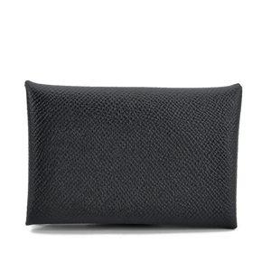 Hermès 爱马仕Calvi黑色牛皮迷你卡包零钱包