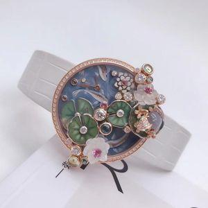 Cartier 卡地亚创意宝石18k玫瑰金原镶钻荷塘月色女士石英腕表