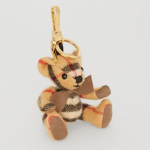 Burberry 博柏利格纹蝴蝶结领结造型泰迪熊挂件钥匙扣