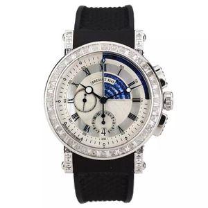 Breguet 宝玑航海系列18K白金后镶T方钻蓝宝石机械表