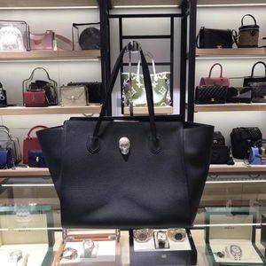 Philipp Plein 菲利普普兰黑色牛皮荔枝纹水钻骷髅头购物袋手提包