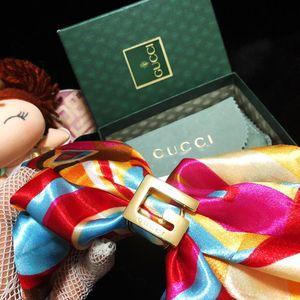 GUCCI 古驰限量款大G logo全包金丝巾扣