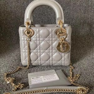 Dior 迪奥三格珠光灰手提包