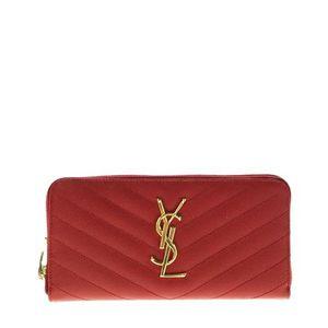 Yves Saint Laurent 伊夫·圣罗兰红金荔枝纹牛皮长款手拿钱包