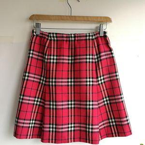 Burberry 博柏利深粉红大格纹半身裙
