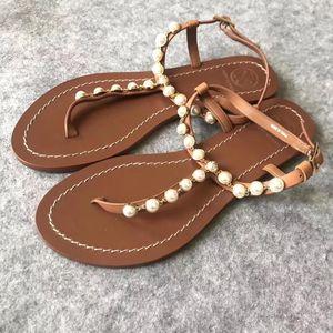 Tory Burch 托里·伯奇棕色珍珠凉鞋