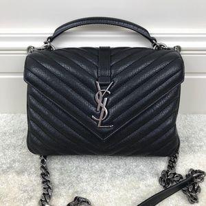 Yves Saint Laurent 伊夫·圣罗兰女士小号黑色手提单肩斜挎邮差包