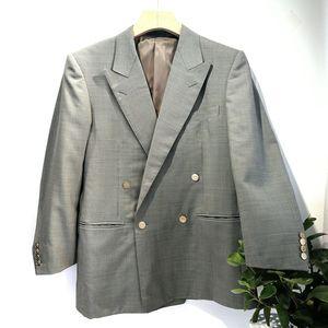 Burberry 博柏利经典灰色质感100%高端羊毛双排扣西服