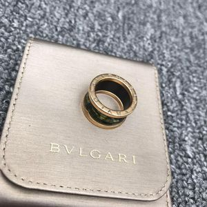 BVLGARI 宝格丽玫瑰金松石绿弹簧戒指