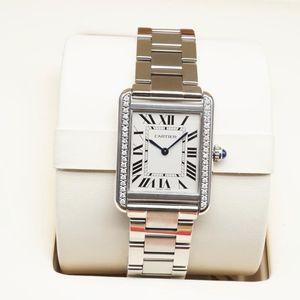 Cartier 卡地亚坦克系列W5200013女士镶钻石英腕表