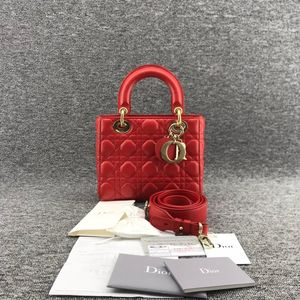 Dior  迪奥西瓜红羊皮四格戴妃手提包