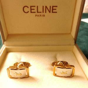 Celine 赛琳马车闪金扣袖扣