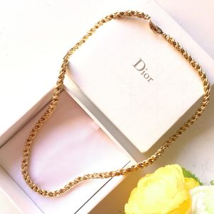 Dior 迪奥XL12630镂空艺术简约粗金丝项链锁骨链