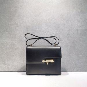 Hermès 爱马仕黑色verrou新款玫瑰金山羊皮金扣机关枪21单肩包