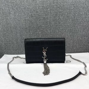Yves Saint Laurent 伊夫·圣罗兰黑色小号鳄鱼纹流苏链条包单肩包