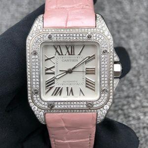 Cartier 卡地亚山度士后镶钻中号自动机械女士腕表