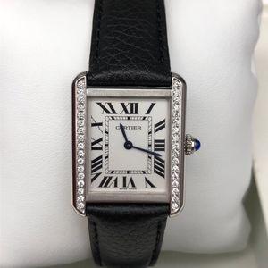 Cartier 卡地亚后镶钻小坦克女士石英腕表