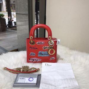 Dior 迪奥红色限量款牛皮亮片刺绣logo三格戴妃手提包