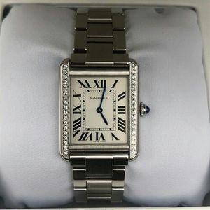 Cartier 卡地亚W5200013坦克系列后镶钻中号石英腕表