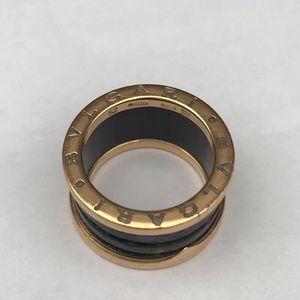 BVLGARI 宝格丽玫瑰金绿松石弹簧戒指