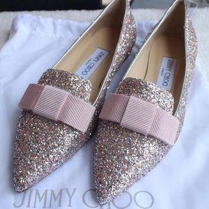 Jimmy Choo 周仰杰亮片低跟尖头蝴蝶结平底鞋
