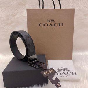 COACH 蔻驰男士双面双色纯牛皮男士礼盒腰带