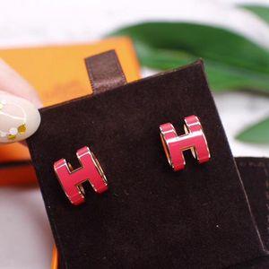 Hermès 爱马仕H字母经典玫粉色椭圆珐琅玫瑰金色耳钉