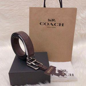 COACH 蔻驰男士双面纯牛皮浮雕旋转头礼盒腰带