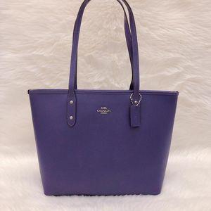 COACH 蔻驰紫罗兰色牛皮拉链式托特手提包
