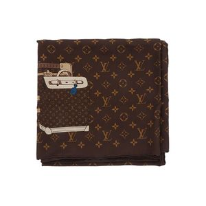 Louis Vuitton 路易·威登限量款老花真丝满logo大方真丝丝巾