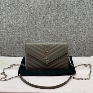 Yves Saint Laurent 伊夫·圣罗兰灰色鱼子酱信封单肩包